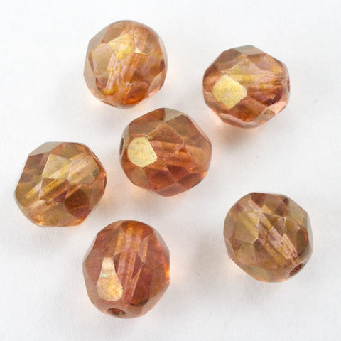 8mm Gold Luster Amber Fire Polished Bead-General Bead