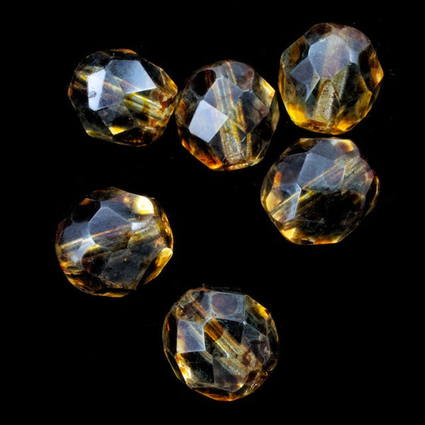 8mm Luster Topaz Fire Polished Bead