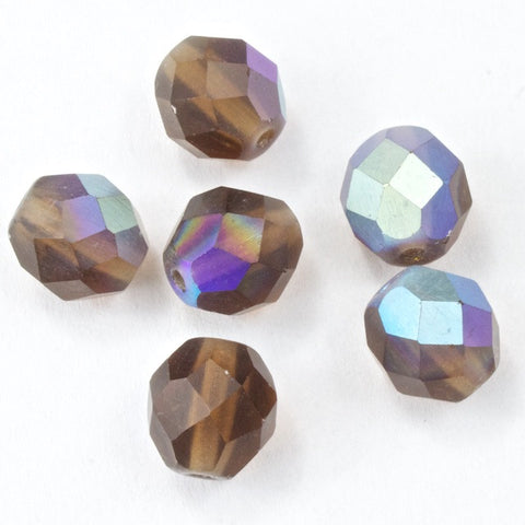 8mm Matte Smoked Topaz AB Fire Polished Bead-General Bead