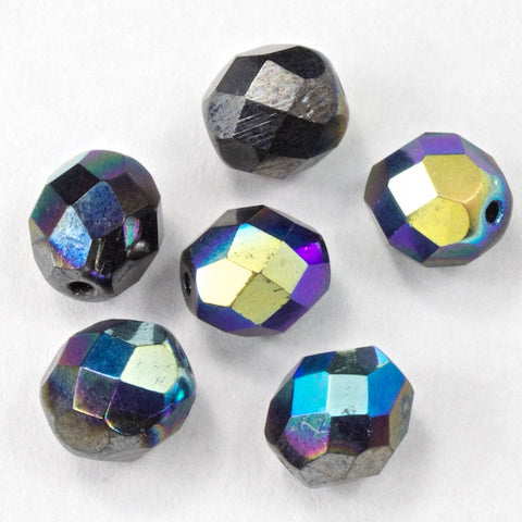 8mm Metallic Gunmetal Iris Fire Polished Bead-General Bead