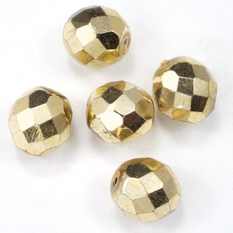 10mm Metallic Gold Fire Polished Bead