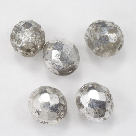 10mm Metallic Silver Fire Polished Bead-General Bead