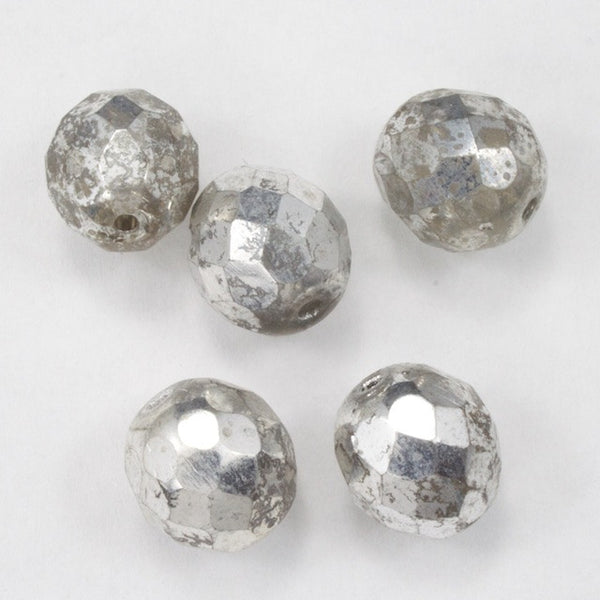 10mm Metallic Silver Fire Polished Bead