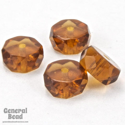 4mm x 8mm Transparent Smoked Topaz Faceted Rondelle (12 Pcs) #GCI015-General Bead