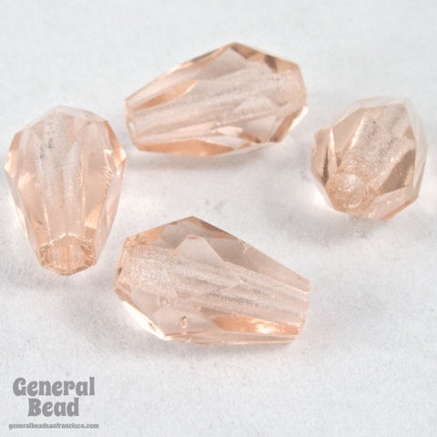 5mm x 7mm Transparent Rose Faceted Teardrop-General Bead