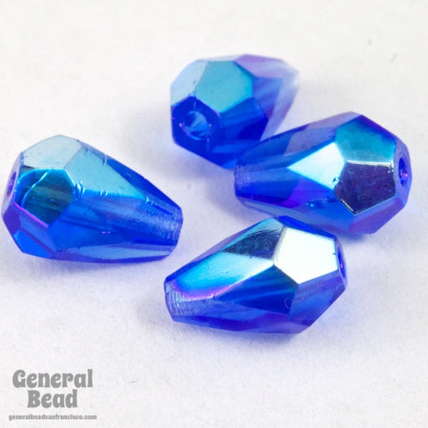 5mm x 7mm Transparent Sapphire AB Faceted Teardrop-General Bead