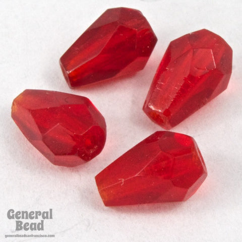 5mm x 7mm Transparent Ruby Faceted Teardrop-General Bead