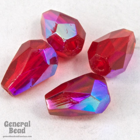 5mm x 7mm Transparent Ruby AB Faceted Teardrop-General Bead