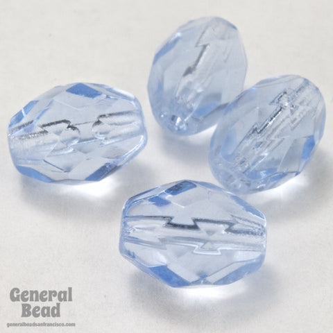 7mm x 9mm Light Sapphire Faceted Oval Bead-General Bead