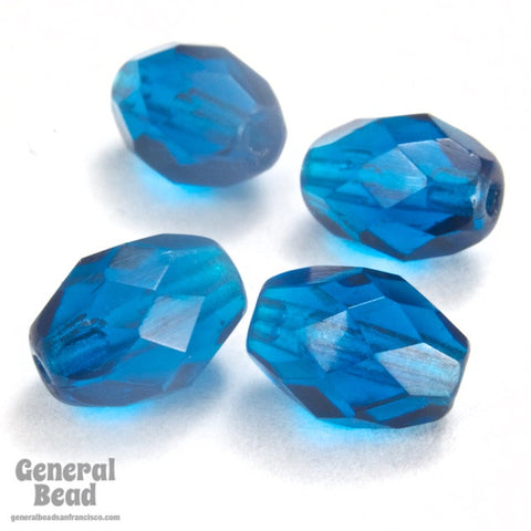 7mm x 9mm Capri Blue Faceted Oval Bead-General Bead