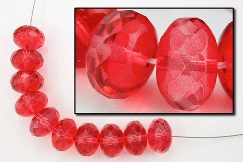 "11mm x 17mm Dark Rose Coated Oblate ""Gem-Cut"" Fire Polished Bead #GCY003"