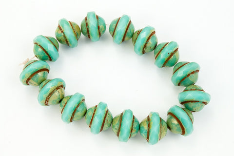 8mm x 10mm Opaque Turquoise Picasso Saturn Bead (15 Pcs) #GCZ205