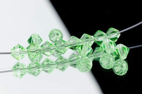 5mm Transparent Chrysolite Faceted Crystal Bicone #GDQ029