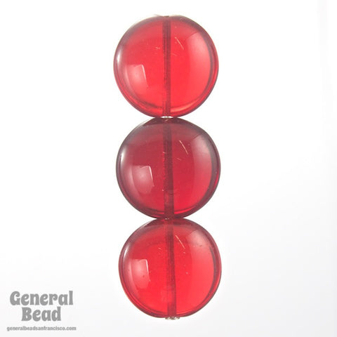15mm Transparent Ruby Coin Bead (2 Pcs) #GEE002-General Bead