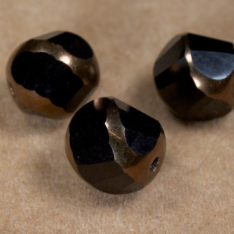 10mm Jet/Bronze Swirl Bead
