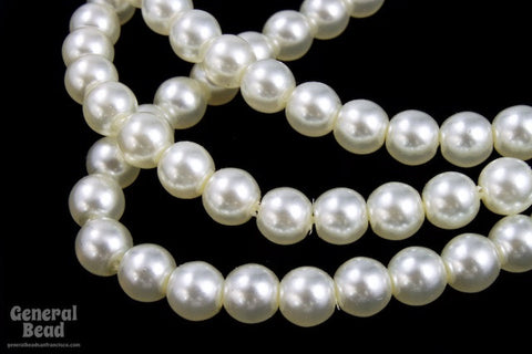 6mm White Luster Glass Pearl #GPB010