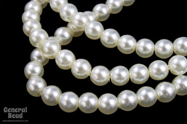 8mm White Luster Glass Pearl #GPC010