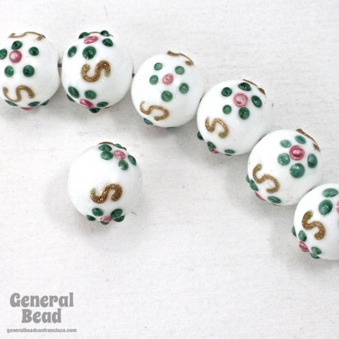 10mm White Floral Lampwork Bead #HCA045-General Bead