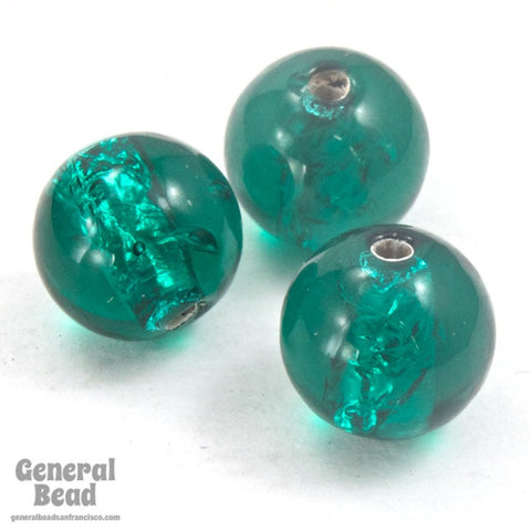 10mm Teal and Silver Foil Lampwork Bead (2 Pcs) #HCA050
