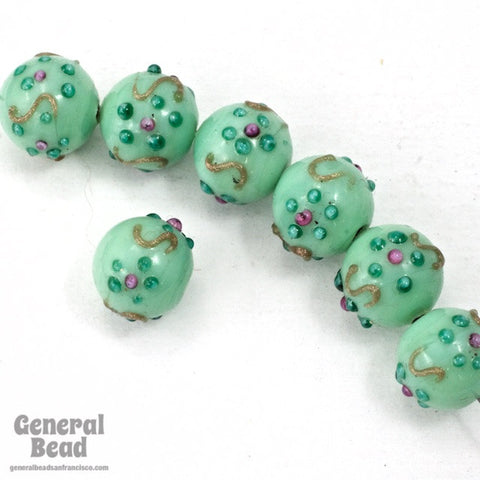 10mm Green Turquoise Floral Lampwork Bead #HCB045
