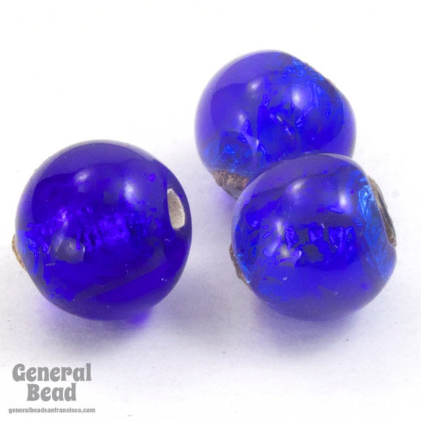 10mm Cobalt and Silver Foil Lampwork Bead