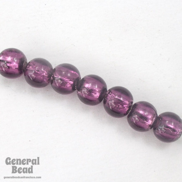 10mm Amethyst and Silver Foil Lampwork Bead