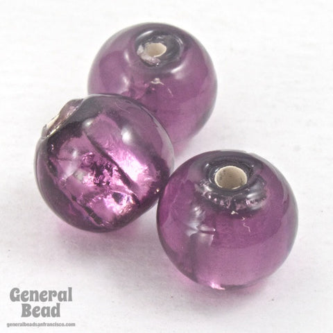10mm Amethyst and Silver Foil Lampwork Bead (2 Pcs) #HCB050