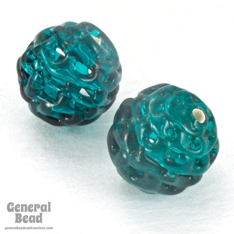 14mm Vintage Glass Teal Spiderweb Lace Handmade Czech Lampwork Bead #HCC057-General Bead