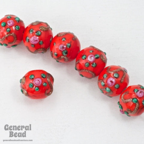 10mm Red Floral Lampwork Bead #HCD045