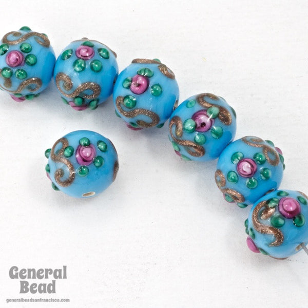 10mm Blue Turquoise Floral Lampwork Bead #HCE045