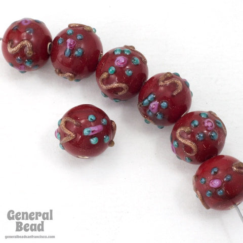 10mm Burgundy Floral Lampwork Bead #HCF045-General Bead