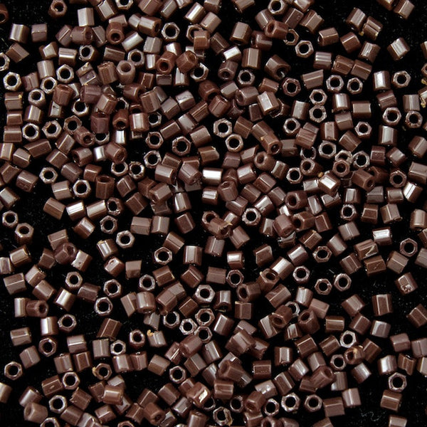 15/0 Opaque Red Brown Hex Seed Bead