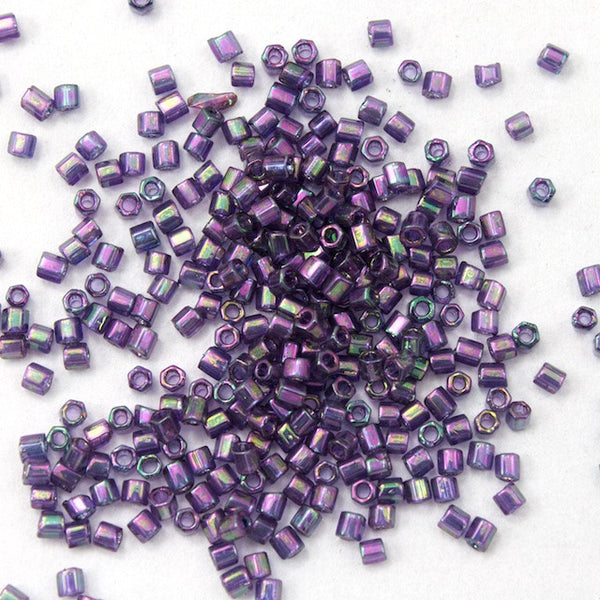 15/0 Gold Luster Dark Lilac Hex Seed Bead