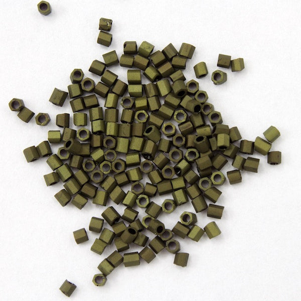 15/0 Matte Metallic Olive Green Hex Seed Bead