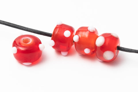 10mm Red Lampwork Rondelle with White Dots #ILA002-General Bead