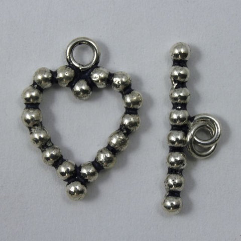 18mm Indian Sterling Heart Toggle Clasp