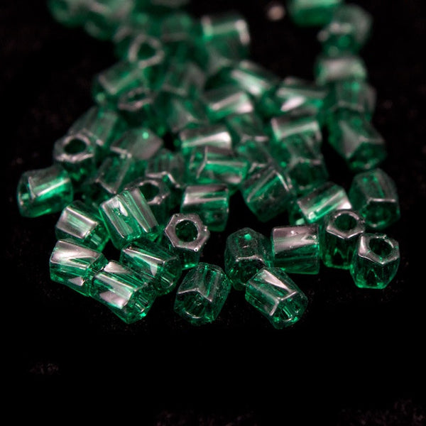 10/0 Transparent Emerald Twist Hex Seed Bead