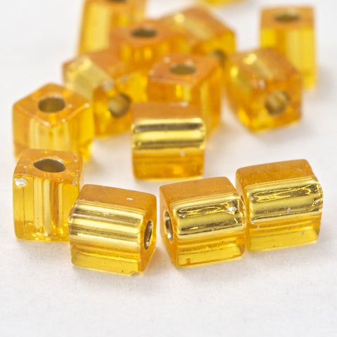 4mm Silver Lined Gold Cube Bead (20 Gm) #JCL002-General Bead