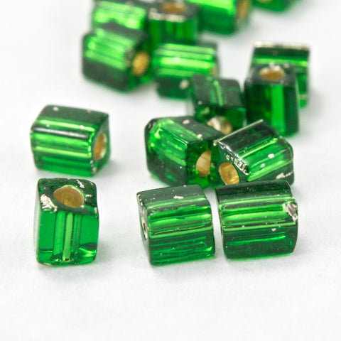 4mm Silver Lined Medium Green Cube Bead (20 Gm) #JCL004-General Bead