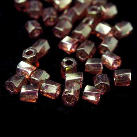 10/0 Gold Luster Dark Topaz Twist Hex Seed Bead