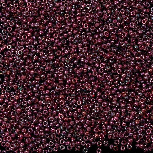 15/0 Gold Luster Raspberry Japanese Seed Bead