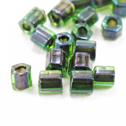 8/0 Grey Lined Green Hex Seed Bead (20 gm) #JJG001-General Bead