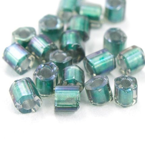 8/0 Green Lined Smoke Luster Hex Seed Bead (20 gm) #JJG008-General Bead