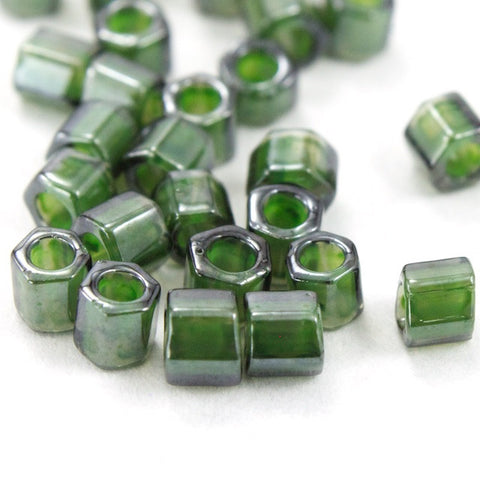 8/0 Olivine Lined Crystal Luster Hex Seed Bead (20 gm) #JJG013-General Bead