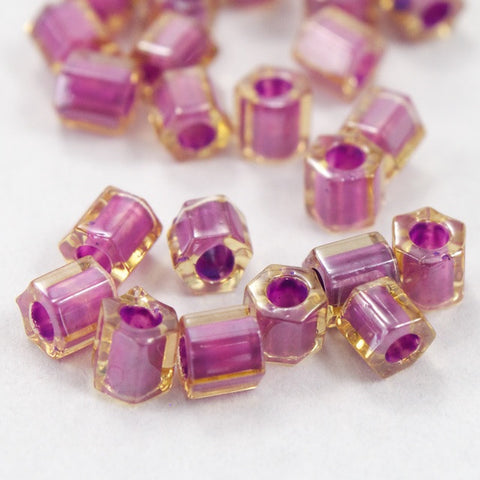 8/0 Mauve Lined Champagne Hex Seed Bead (20 gm) #JJG014-General Bead