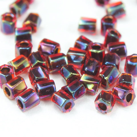 10/0 Black Lined Ruby AB Twist Hex Seed Bead