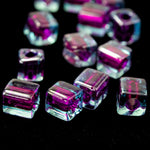 4mm Fuchsia Lined Aqua Cube Bead (20 Gm) #JJL008-General Bead