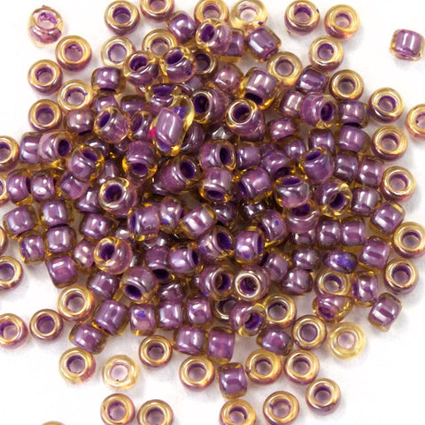 15/0 Lined Champagne/Mauve Japanese Seed Bead-General Bead