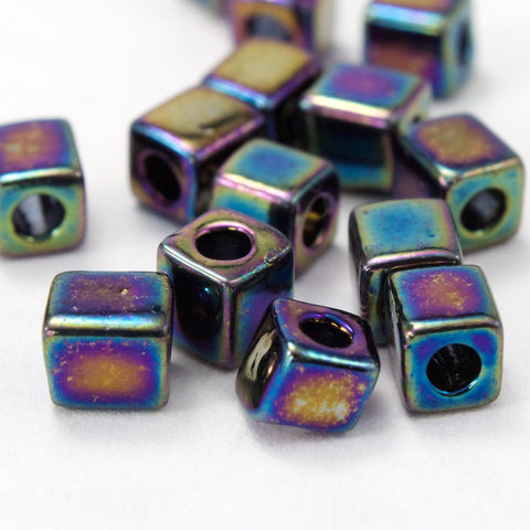 4mm Black AB Cube Bead (20 Gm) #JKL002-General Bead