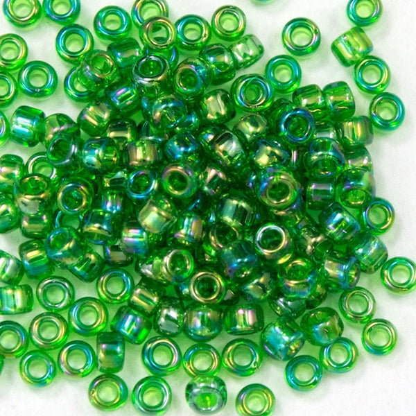 15/0 Transparent Kelly Green AB Japanese Seed Bead